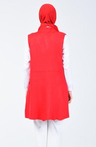 Gilet Détail Perles 14128-06 Rouge 14128-06