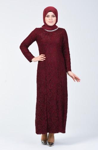 Büyük Beden Abiye Elbise 2055-04 Bordo 2055-04