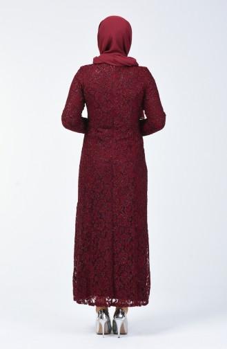 Robe de Soirée a Dentelle Grande Taille 2054-06 Bordeaux 2054-06