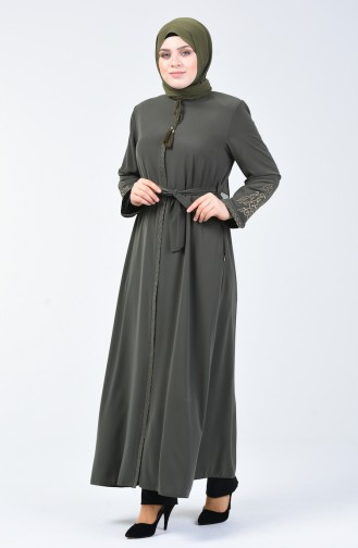 Abaya Brodée Grande Taille 5938-02 Khaki 5938-02