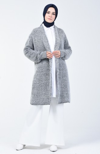 Gilet Tricot Col Châle 4127-08 Anthracite Blanc 4127-08