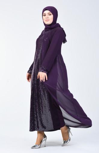 Robe de Soirée a Paillettes Grande Taille 4747-02 Pourpre 4747-02