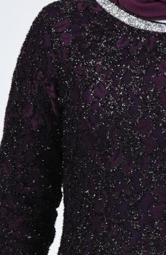 فستان سهرة بتصميم من الدانتيل وبمقاسات كبيرة 2054-04 لون بنفسجي 2054-04