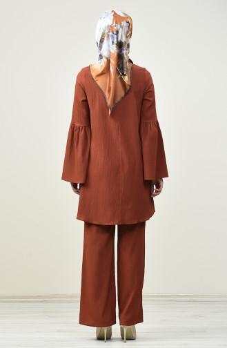 İspanyol Kol Tunik Pantolon İkili Takım 4445-01 Kiremit 4445-01