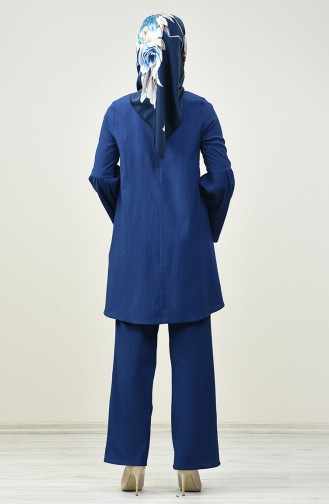 İspanyol Kol Tunik Pantolon İkili Takım 4445-02 İndigo 4445-02