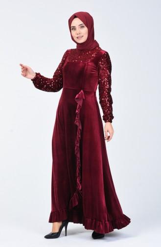 Pailletten Detailliertes Abendkleid aus Samt  5105-03 Weinrot 5105-03