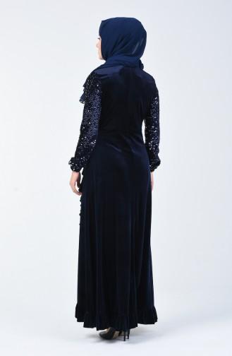 Sequin Detailed Velvet Evening Dress 5105-04 Navy Blue 5105-04