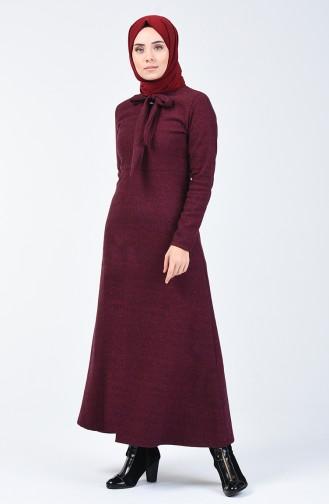 Robe Col Cravate à Motifs  0021-02 Bordeaux 0021-02