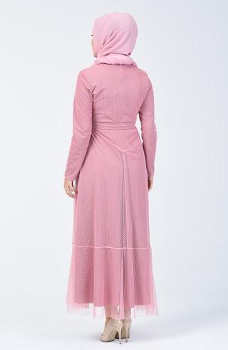 Robe Volante à Ceinture 5014-10 Rose 5014-10