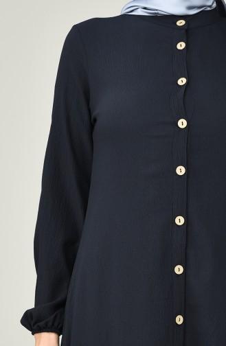 Boydan Düğmeli Uzun Tunik 10151-07 Lacivert