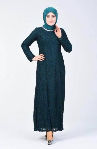 فستان سهرة بتصميم من الدانتيل وبمقاسات كبيرة 2054-02 لون اخضر زمردي 2054-02
