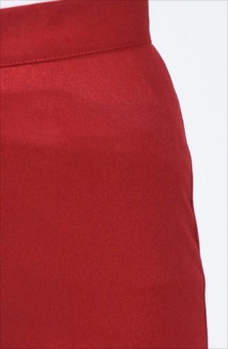Düğmeli Düz Paça Pantolon 1115-04 Bordo