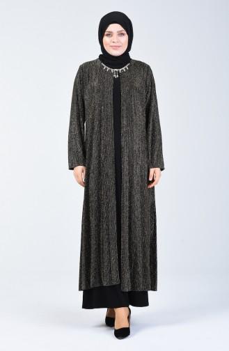 Robe de Soirée avec Détail Collier Grande Taille 1074-02 Gold 1074-02
