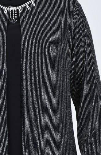 Robe de Soirée avec Détail Collier Grande Taille1074-03 Gris 1074-03