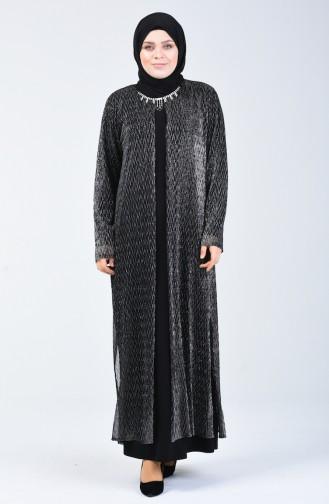 Büyük Beden Takım Görünümlü Abiye Elbise 1076-01 Siyah