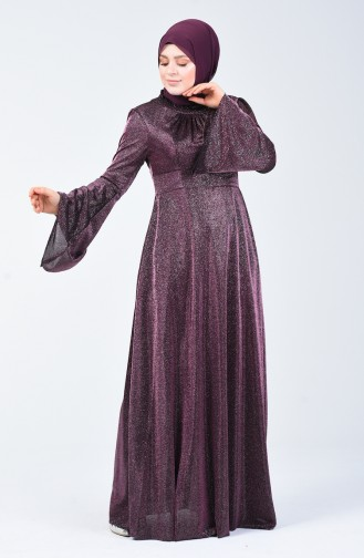 Robe de Soirée Grande Taille Manches Volantes à Paillettes 9016-01 Plum 9016-01