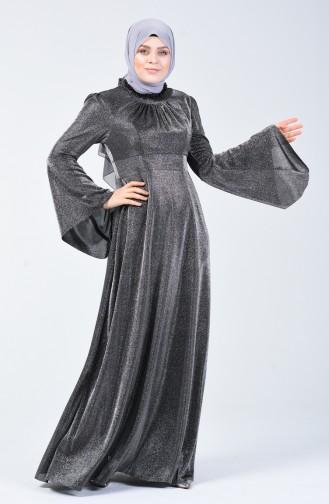 Robe de Soirée Grande Taille Manches Volantes à Paillettes 9016-03 Gris 9016-03