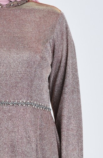 Robe de Soirée Grande Taille à Paillettes 9018-01 Poudre 9018-01