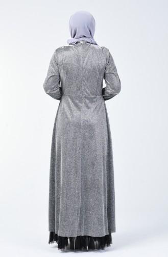 Robe de Soirée Grande Taille à Paillettes 9018-02 Gris 9018-02