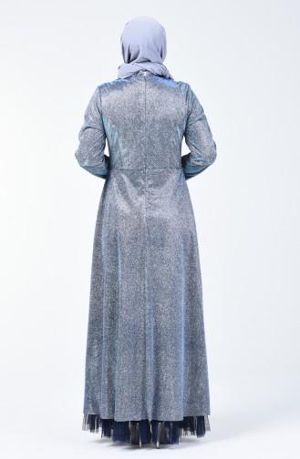 Büyük Beden Taşlı Simli Abiye Elbise 9018-03 Mavi
