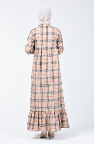 Kravat Yaka Büzgülü Elbise 1368-01 Vizon