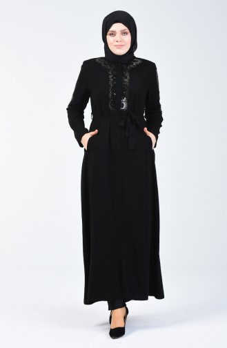 Büyük Beden Taş Baskılı Ferace 5942-01 Siyah