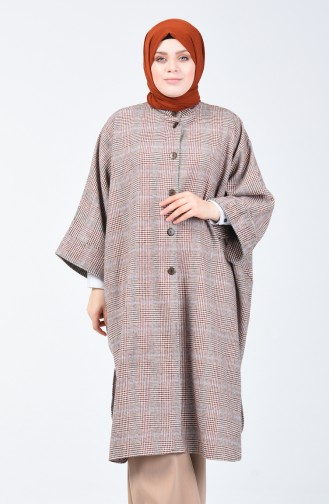 Buttoned Long Poncho Brick 8001C-01