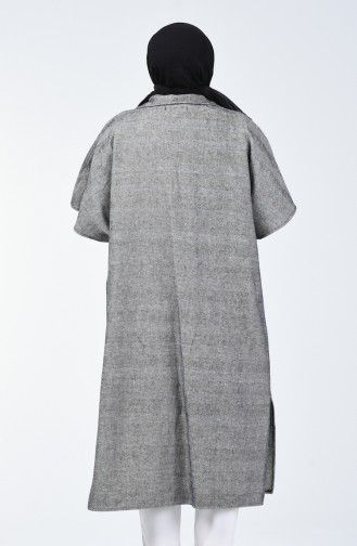 Buttoned Winter Poncho Gray 8004A-01