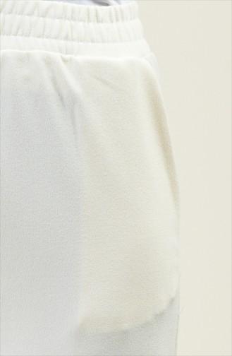 Beli Lastikli Cep Detaylı Pantolon 1306PNT-01 Krem