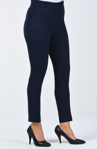 Straight Leg Trousers with Pockets 3148-01 Navy Blue 3148-01