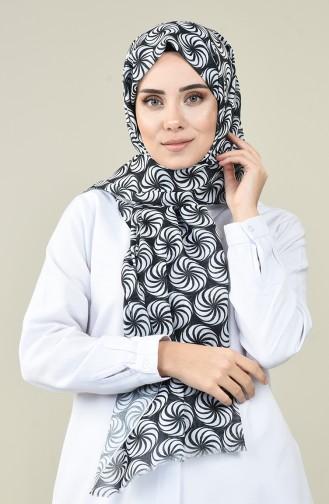 Châle Coton à Motifs Noir et Blanc 13161-01 Noir Blanc 13161-01