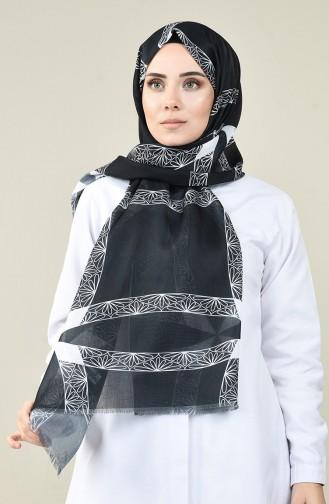 Châle Coton à Motifs Noir et Blanc  13161-04A Noir Blanc 13161-04A