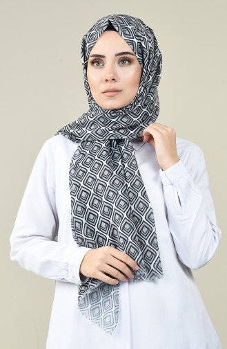 Siyah Beyaz Desenli Pamuk Şal 13161-12 Gri