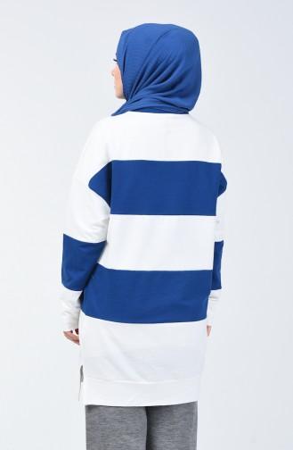 Sweatshirt à Motifs 0814-02 İndigo 0814-02