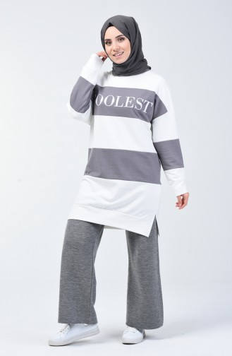 Sweatshirt à Motifs 0814-04 Gris 0814-04
