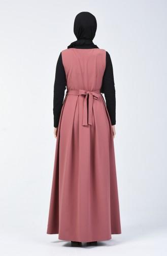 Ensemble Deux Pieces Robe Sans Manche Blouse 50552-02 Noir Rose Pâle 50552-02