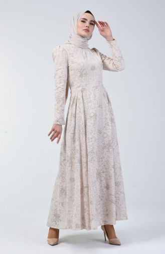 Beige Islamic Clothing Evening Dress 7256-01