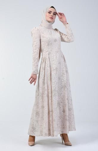 Astarlı Kloş Abiye Elbise 7256-01 Bej