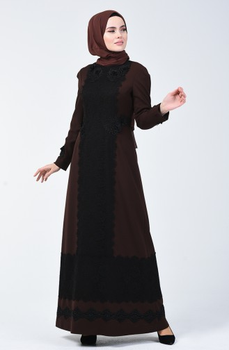 Dantelli Abiye Elbise 50528-04 Kahverengi