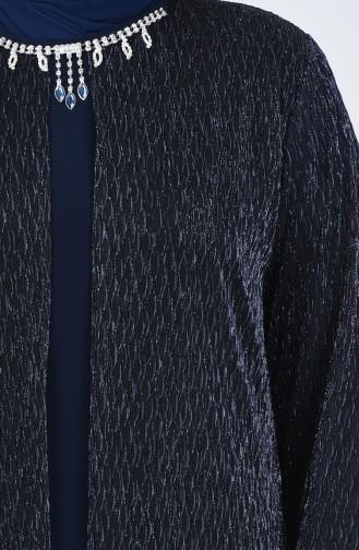Robe de Soirée Grande Taille 1076-02 Bleu Marine 1076-02