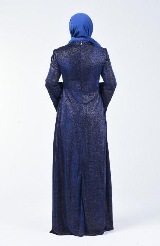 Robe de Soirée Grande Taille Manches Volantes à Paillettes  9016-02 Bleu Roi 9016-02