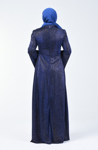 فساتين سهرة بتصميم اسلامي أزرق 9016-02