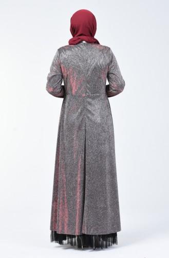 Robe de Soirée Grande Taille à Paillettes 9018-04 Bordeaux 9018-04