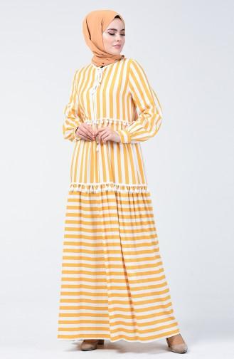 Çizgili Ponponlu Elbise 40848-02 Sarı