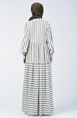Çizgili Ponponlu Elbise 40848-03 Haki
