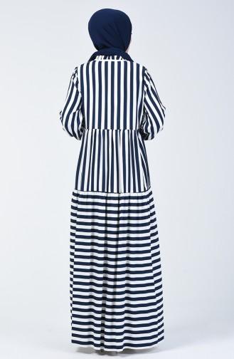 Çizgili Ponponlu Elbise 40848-04 Lacivert