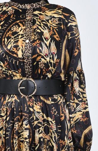 Belted Satin Dress 50664-01 Black 50664-01