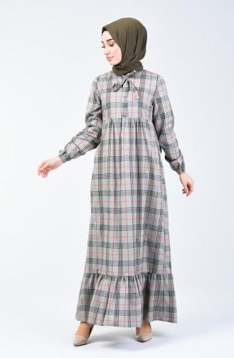 Robe Plissée avec Col Cravate 1368-02 Khaki 1368-02
