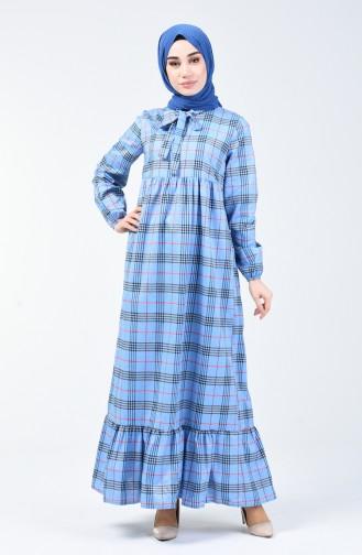 Kravat Yaka Büzgülü Elbise 1368-04 Mavi