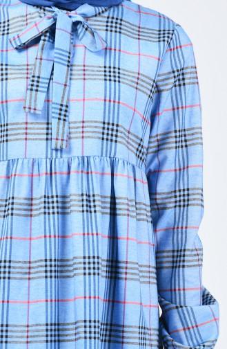 فستان مطوي مع ربطة عنق أزرق 1368-04